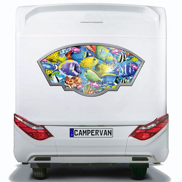 Car & Motorbike Stickers: Artistic frame multicolored fish