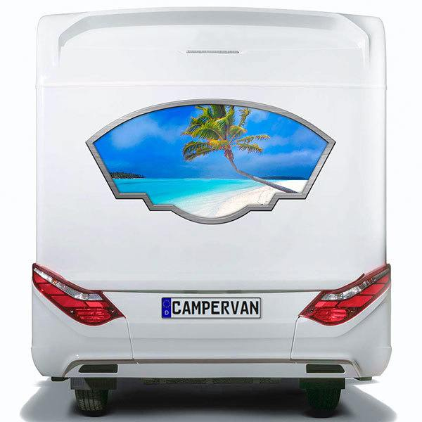 Car & Motorbike Stickers: Artistic frame palm tree on the beach