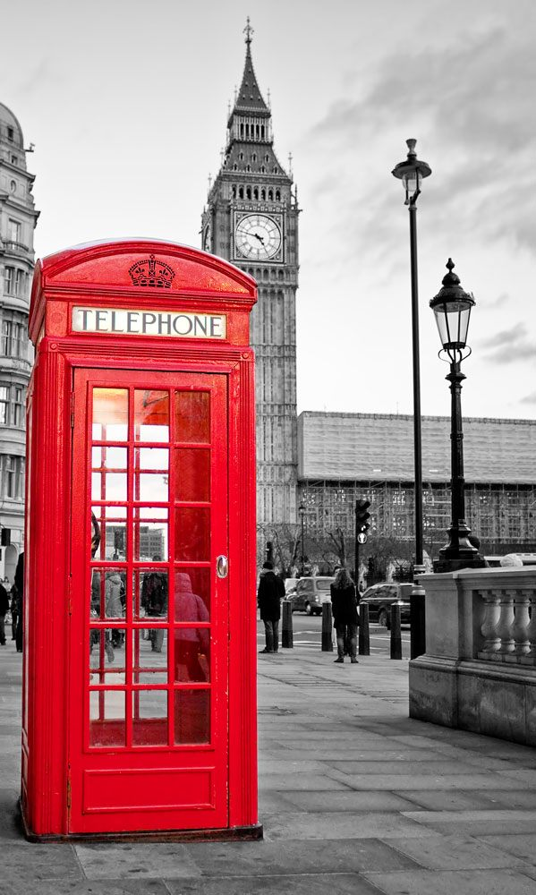 Wall Murals: London telephone booth