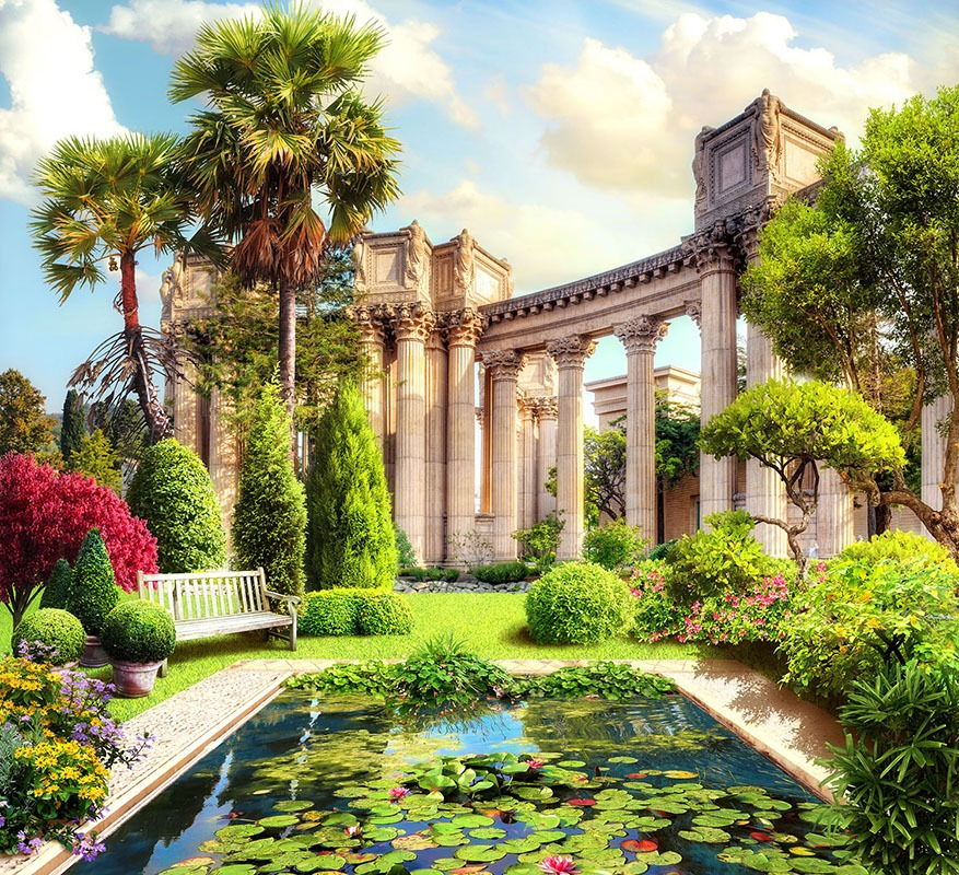 Wall Murals: Pond and Corinthian columns