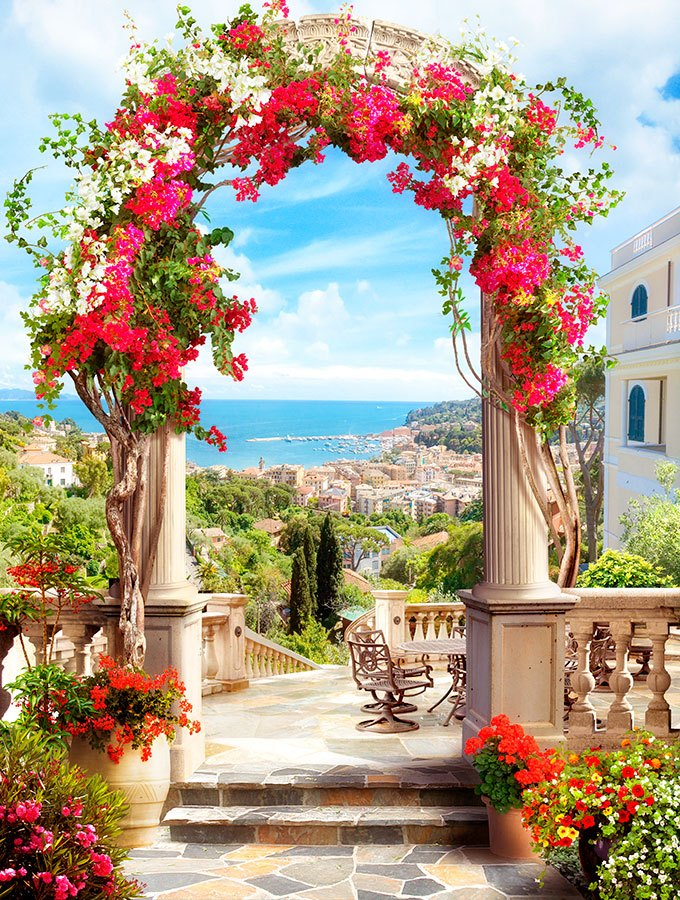 Wall Murals: Floral arch to the coast