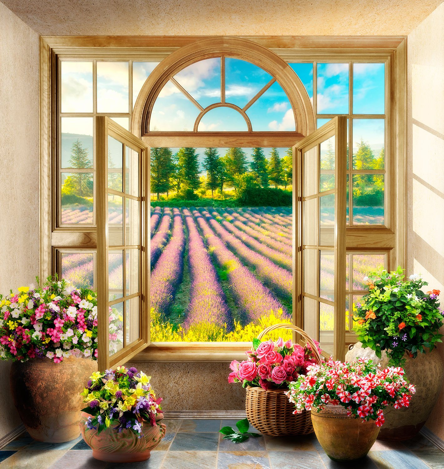 Wall Murals: Window to the Lavender field