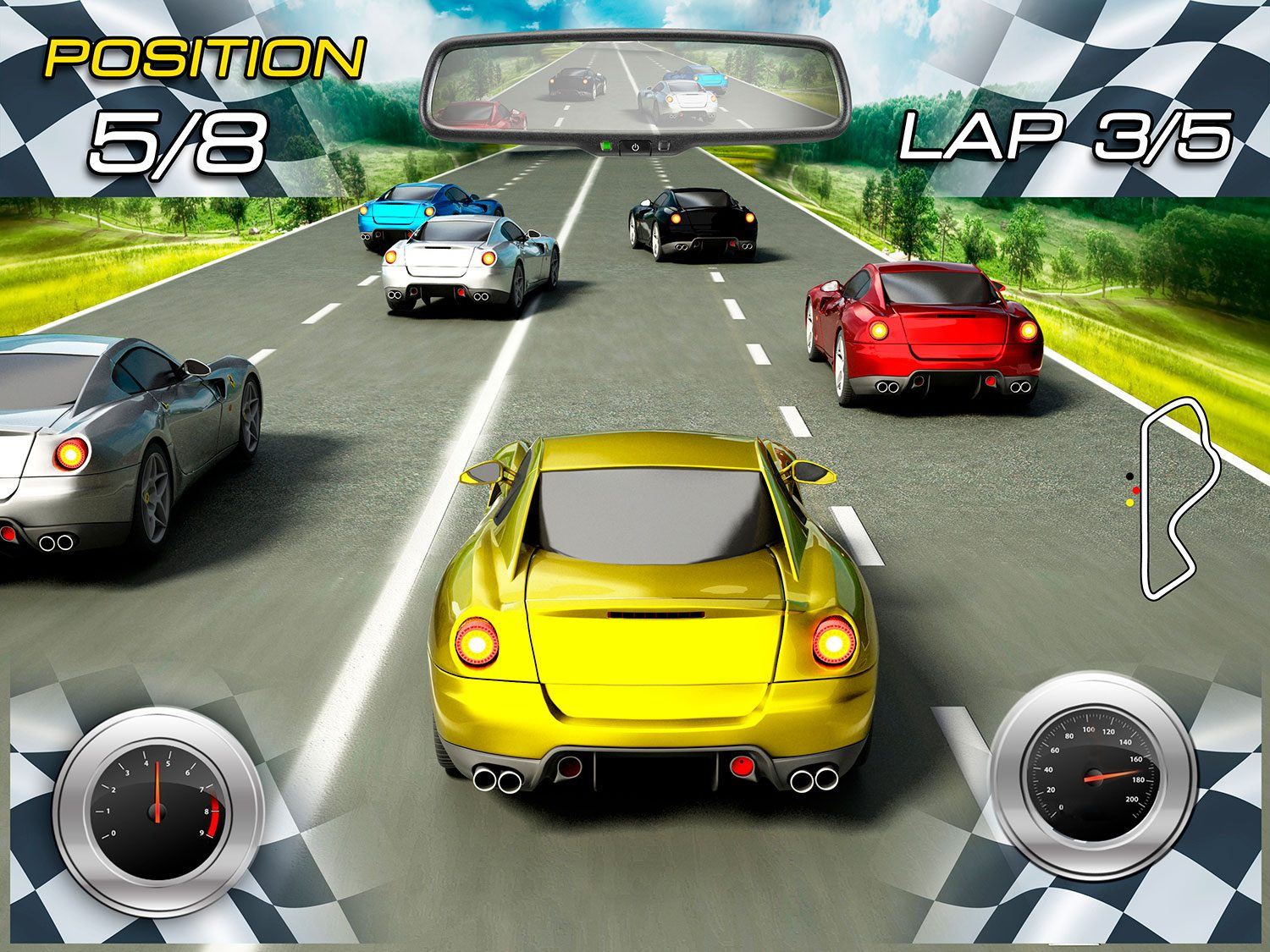 Wall Murals: Car Racing Video Game
