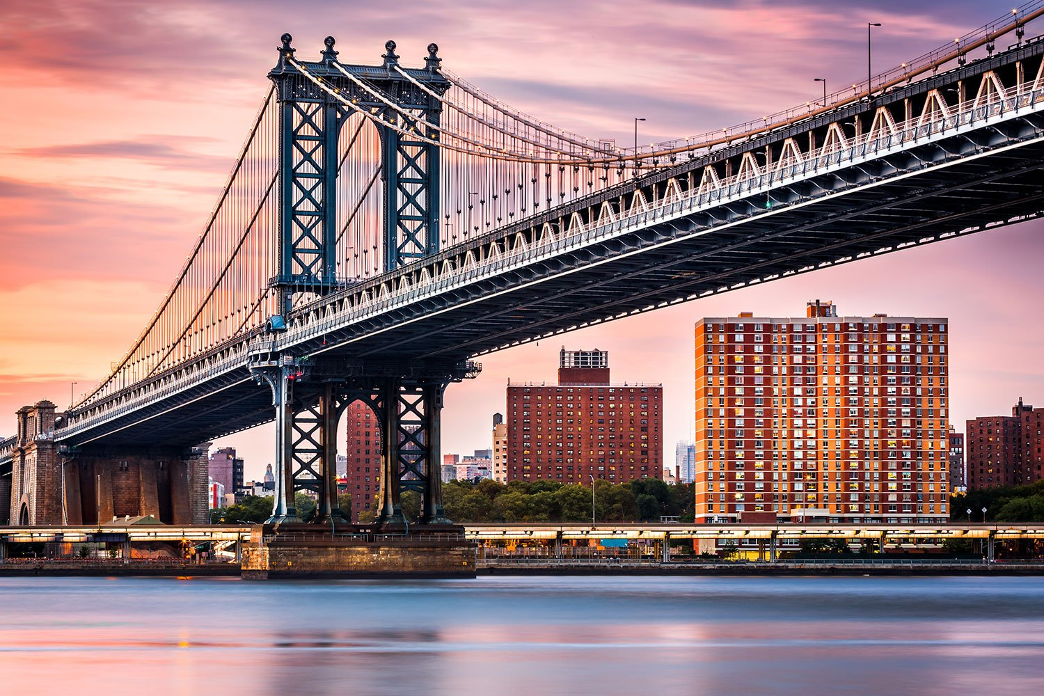 Wall Murals: Manhattan Bridge at sunset