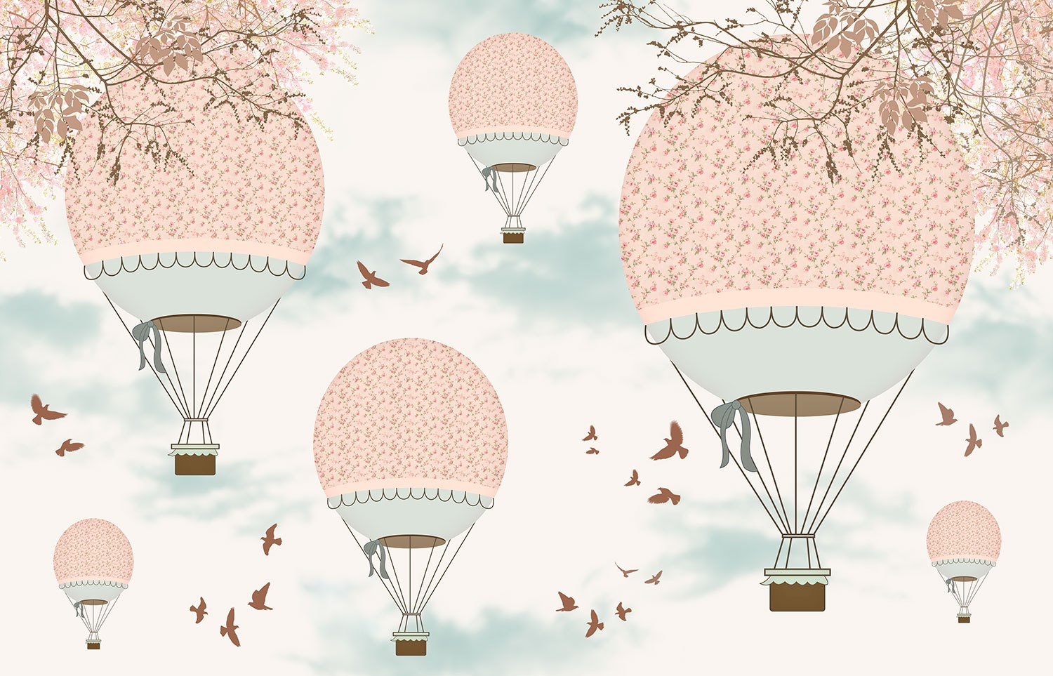 Wall Murals: Pink balloons in the sky