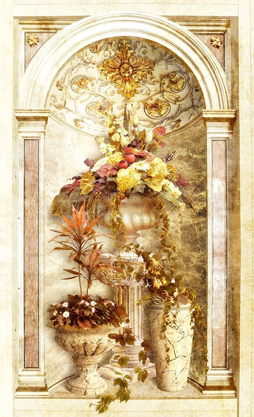 Wall Murals: Flowers in the temple