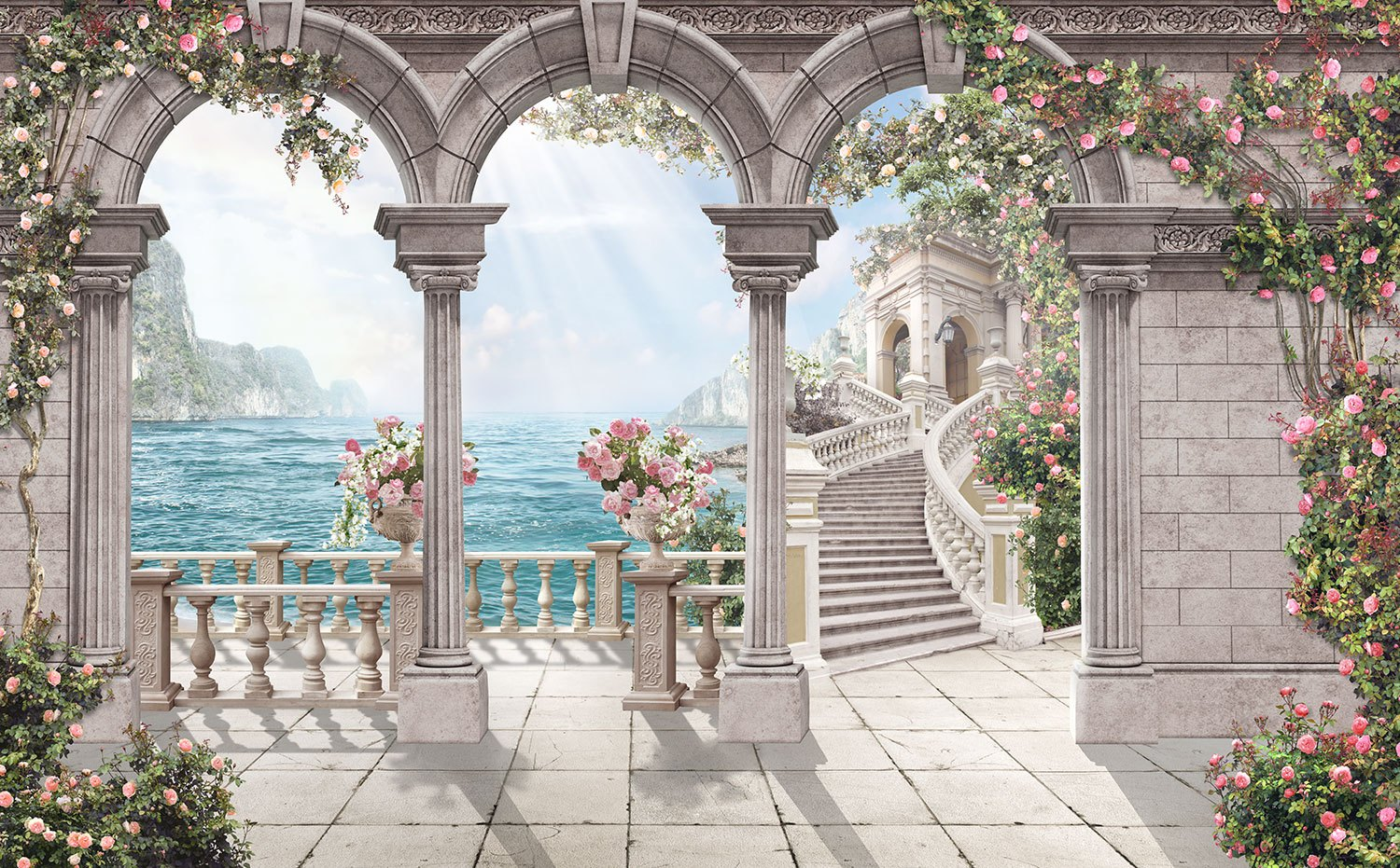 Wall Murals: Patio of roses
