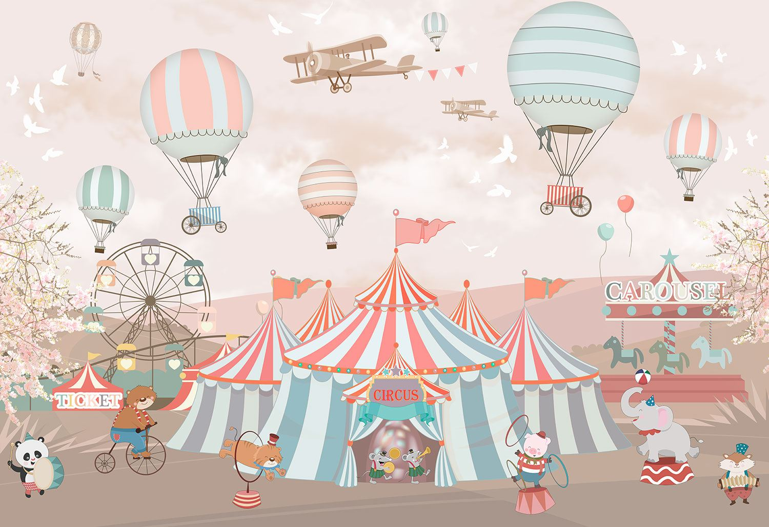 Wall Murals: Grand Animal Circus