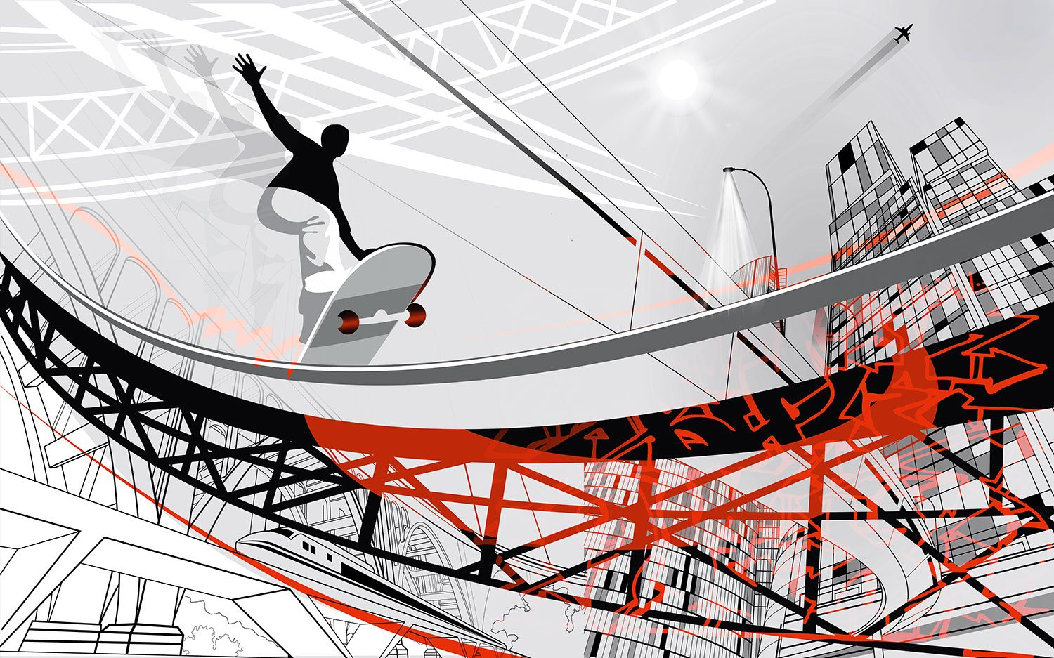 Wall Murals: Skate Illustration