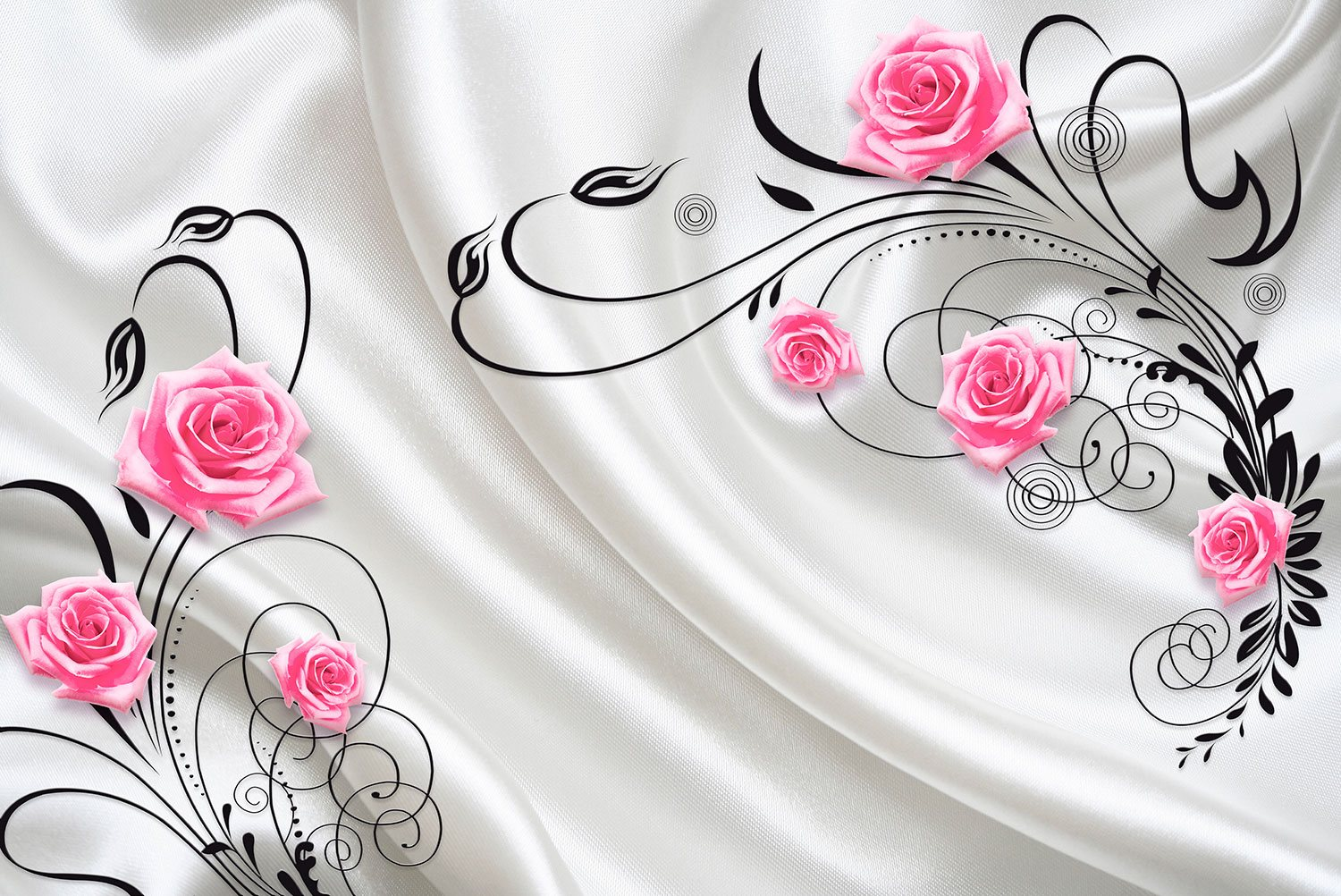 Wall Murals: Roses among ornaments