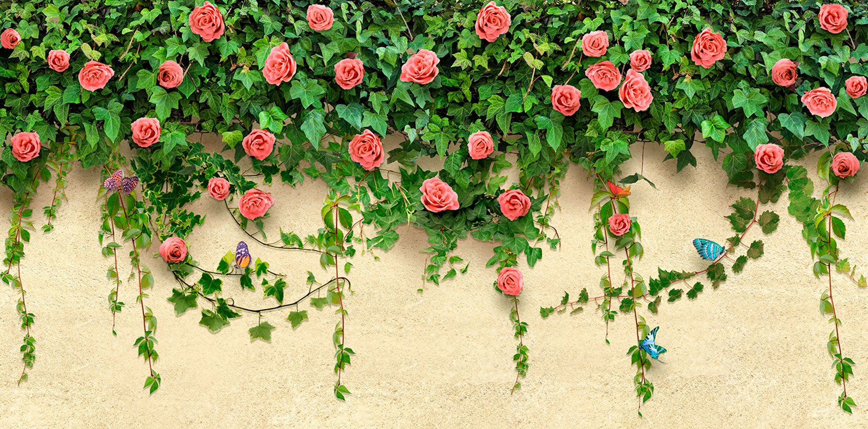 Wall Murals: Ivy and roses
