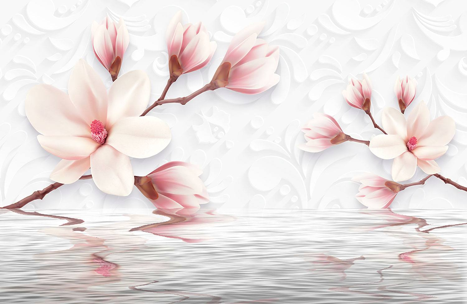 Wall Murals: Flowers sprouting from the water