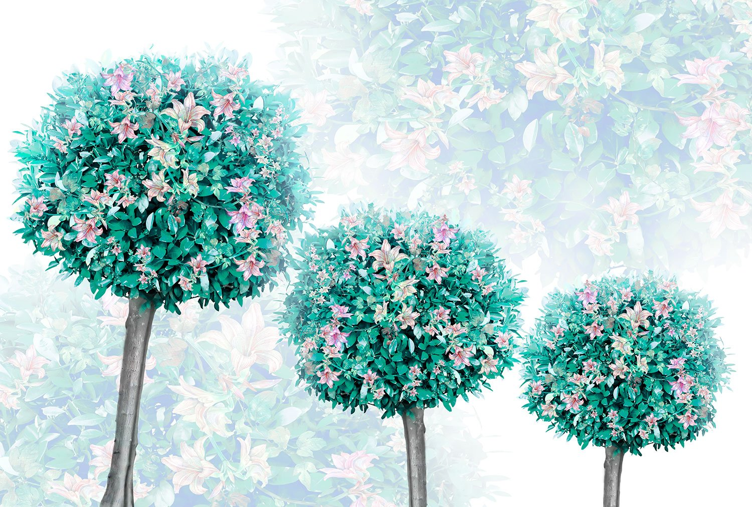 Wall Murals: Trees with flowers
