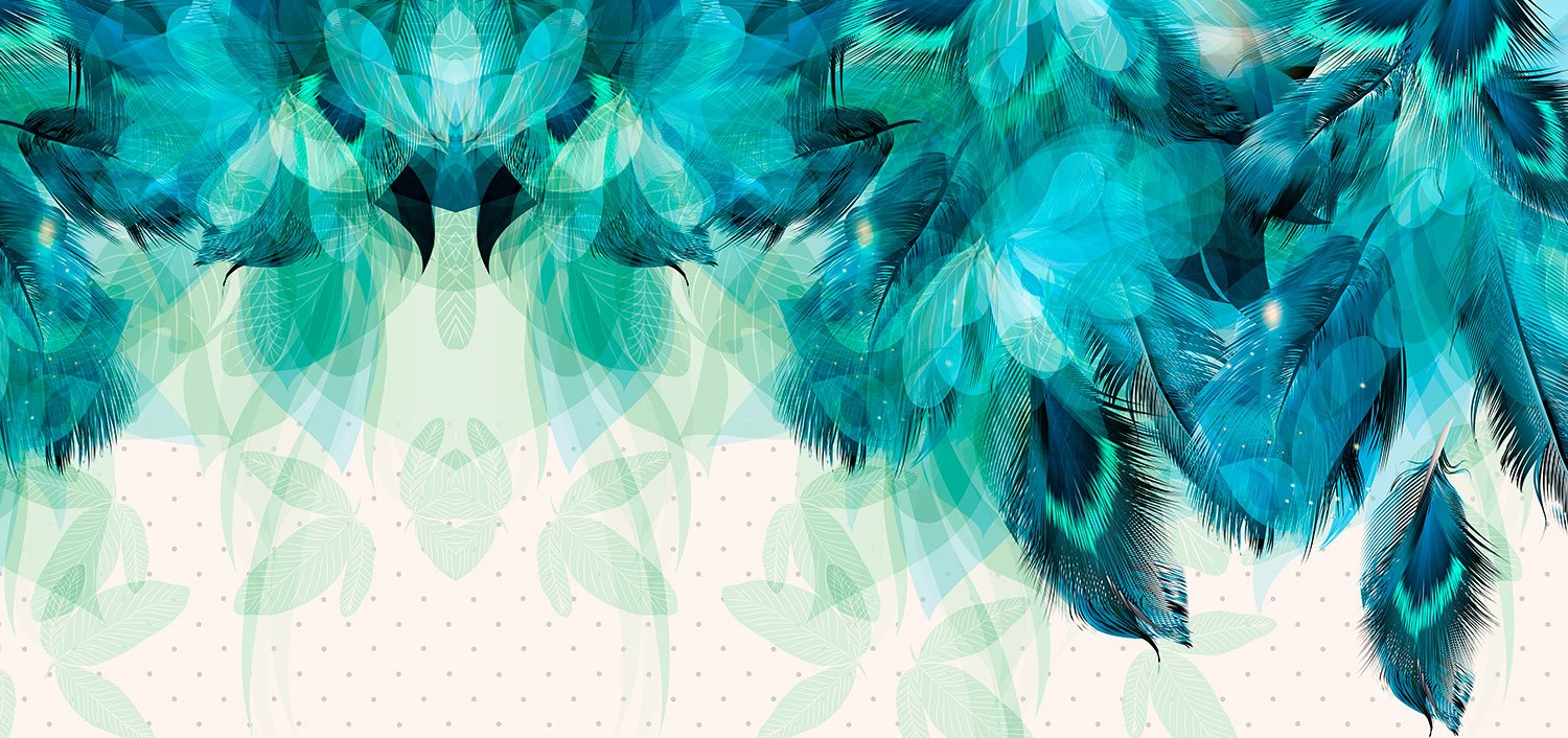 Wall Murals: Turquoise feathers and leaves