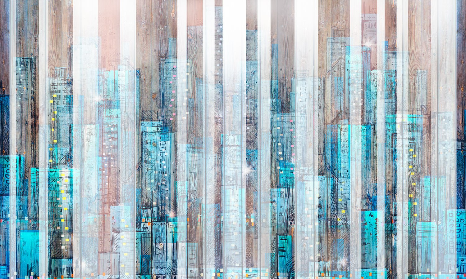Wall Murals: City painted in wood